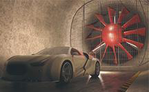 Vehicle in wind tunnel