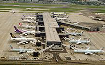 Aerial of planes parked at Heathrow