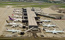 Planes parked at Heathrow airfield