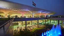 Chhatrapati Shivaji International Airport lit up at night